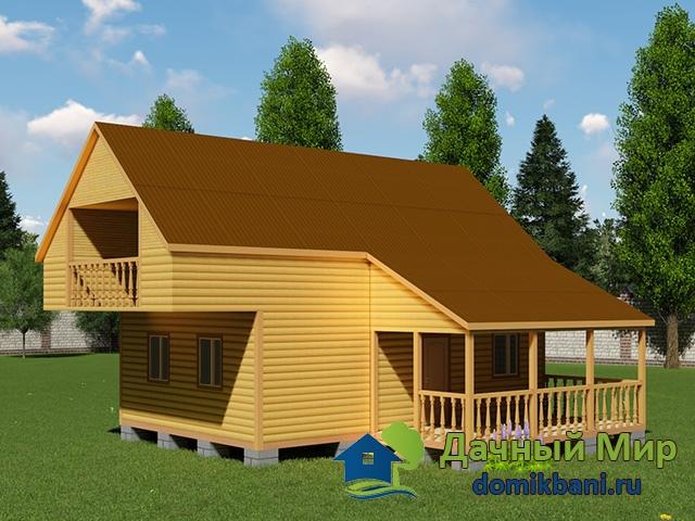 Деревянный дом 9x9 из бруса - проект дома 9x9