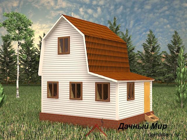 Каркасный дом 6×5 с верандой