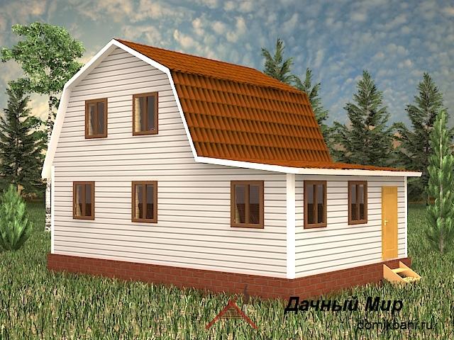 Каркасный дом 9×6 с верандой