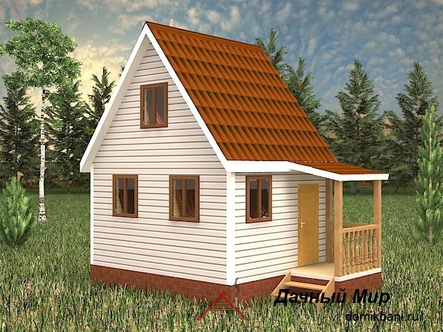 Щитовой дом 5×4 с крыльцом и вторым этажом