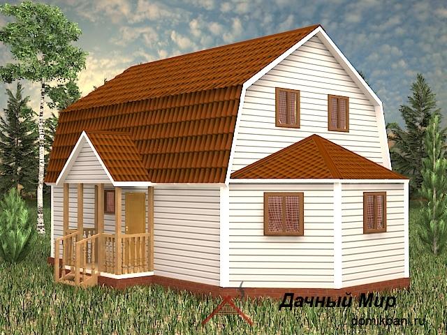 Щитовой дом с эркером, проект щитового дома с эркером
