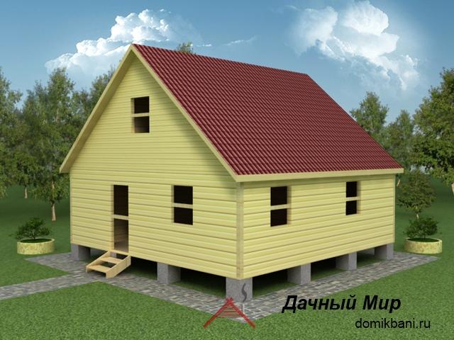 Сруб дома 8х8, проект сруба дома 8x8 с мансардой