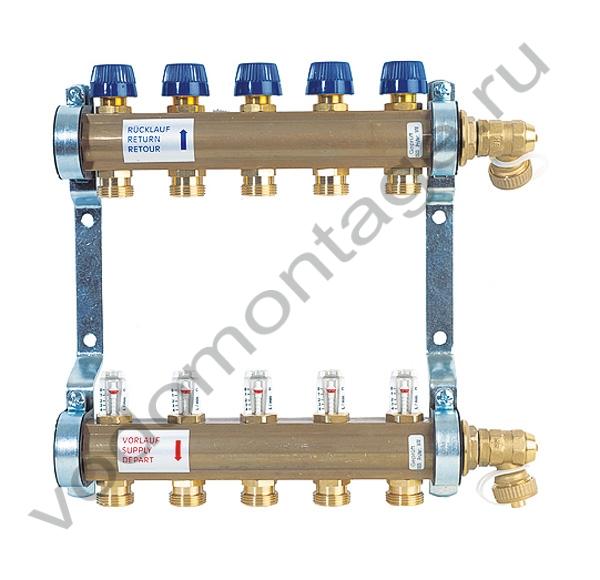 Коллектор для теплых полов с расходомерами Watts HKV/T-2 - купить по низкой цене в Москве. Оборудование для отопления в наличии, скидки на монтаж и установку. Фото, описание, характеристики, стоимость, подбор и доставка оборудования